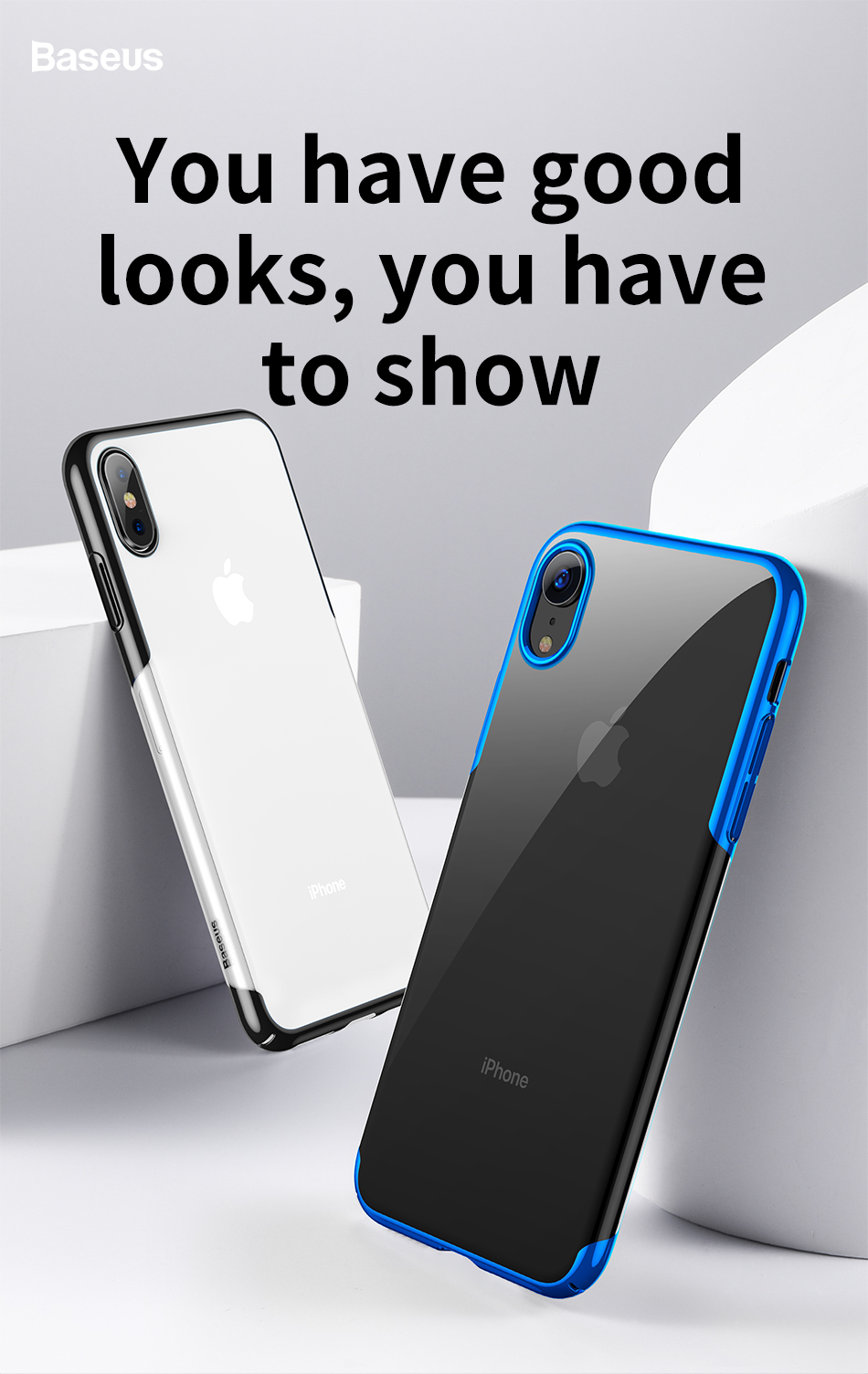 Baseus Protective Case For iPhone XS 2018 Clear Plating Anti-yellowing Hard PC Back Cover