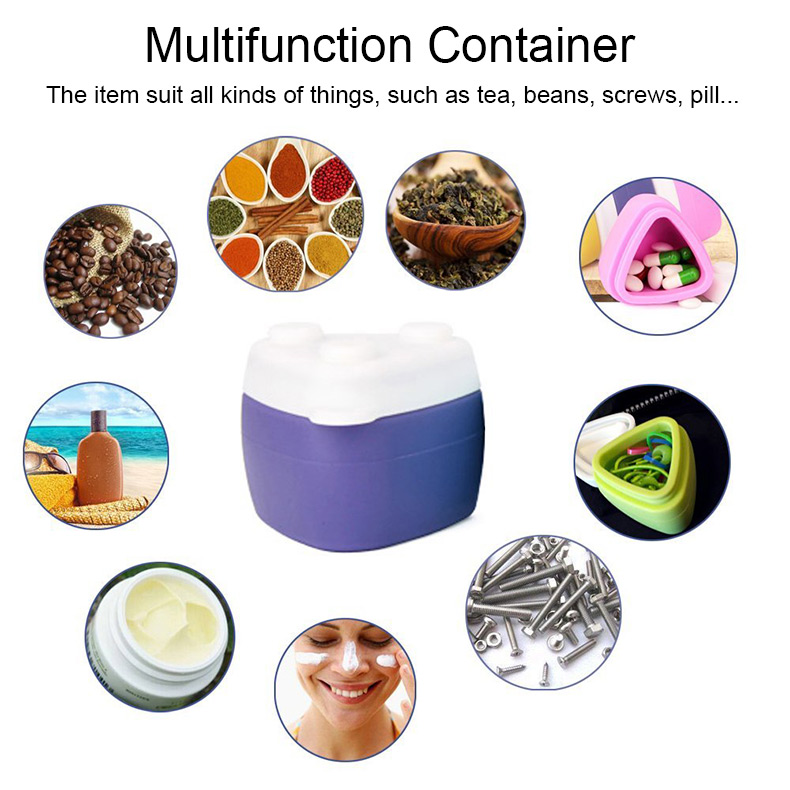 Silicone Travel Pill Case Portable Medical Containers Jewelry Cosmetic Case Dispenser Vitamin Holder