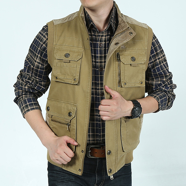 Mens Plus Size XS-5XL Casual Outdoor Cotton Multi Functions Loose Vest