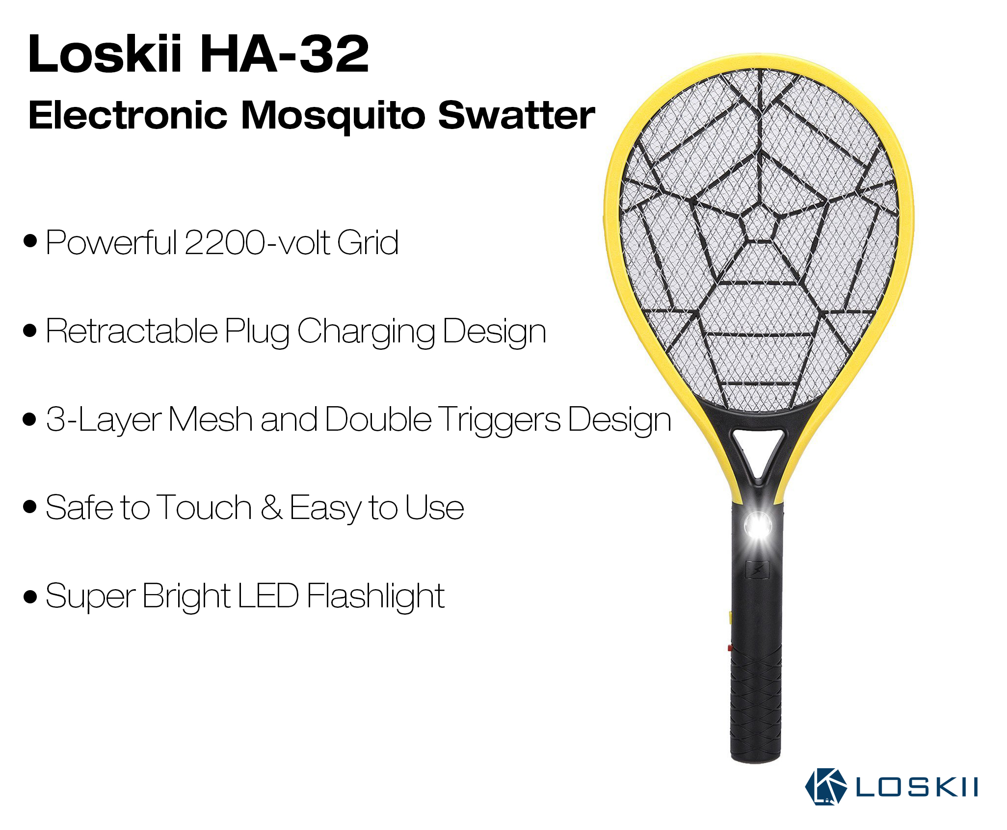 Loskii HA-32 Rechargeable Electronic Mosquito Pest Killer 3 Layer Mesh Fly Swatter with LED Light