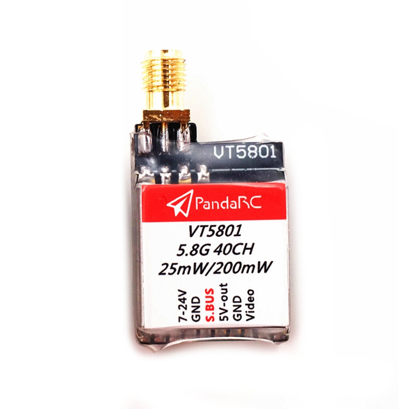PandaRC VT5801 5.8G 40CH 25mW/200mW Switchable 1KM S.BUS AV VTX FPV Transmitter For RC Drone