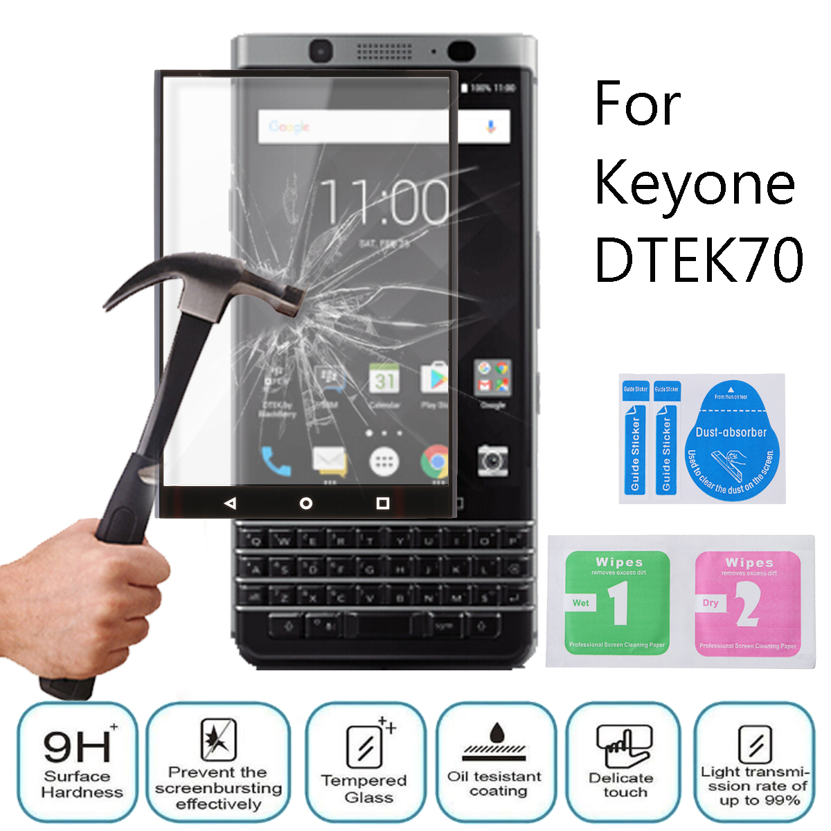 9H 3D Tempered Glass Touch Screen Thin Film Protector For BlackBerry Keyone DTEK70 Black
