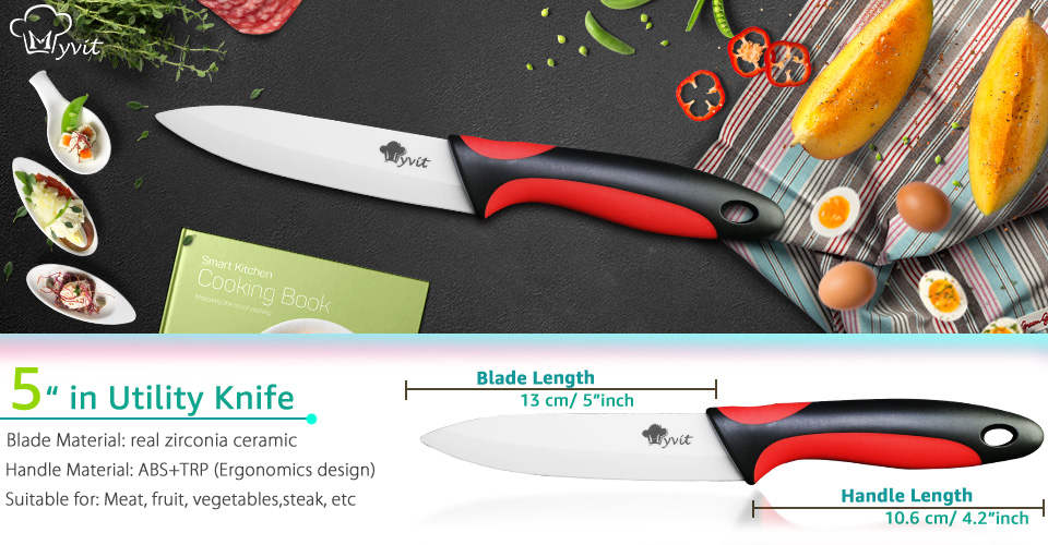 MYVIT Ceramic Knife Kitchen Knives 3 4 5 6 inch + Peeler White Blade Paring Fruit Vegetable Chef Utility Knife Cooking Tools Set