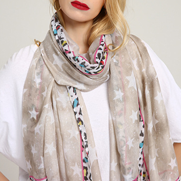 Women Breathable Star Leopard Print Scarf Special Shawl