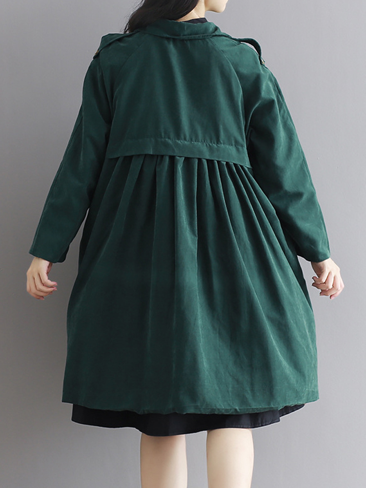 Vintage Turn-Down Solid Green Long Sleeve Loose Women Coat