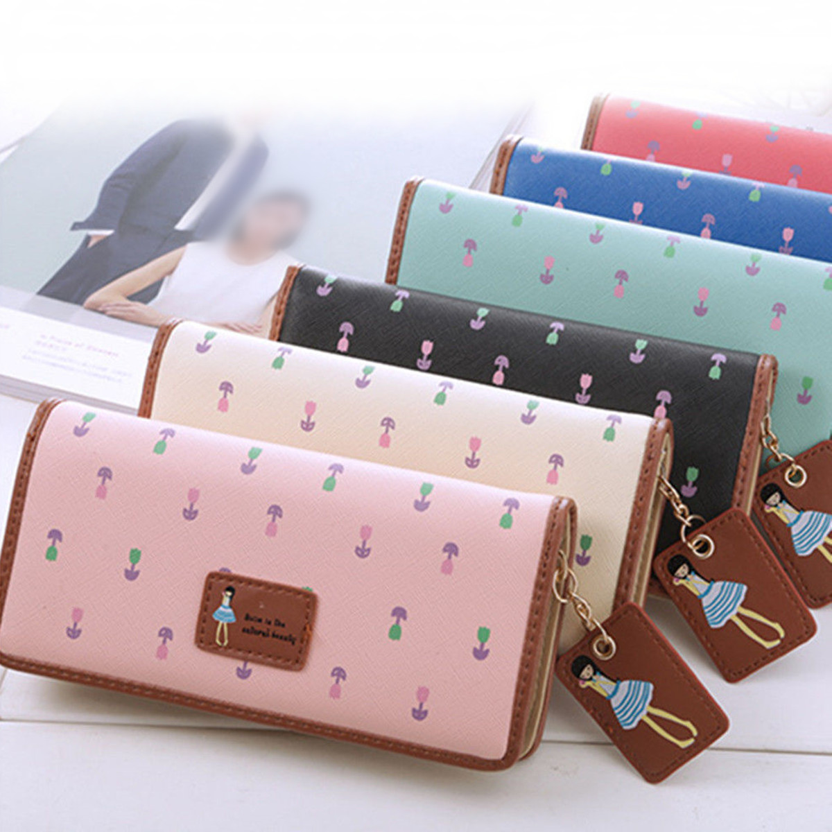 Fashion Sweet Girl Leather Women Long Wallet Phone Case Card Holder for iPhone X Samsung S8 Xiaomi 6