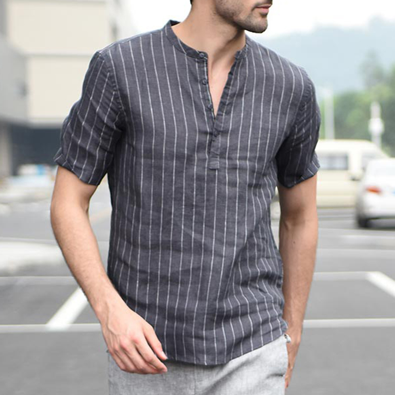 INCERUN Mens V Neck Vertical Striped Printing Summer Shirts