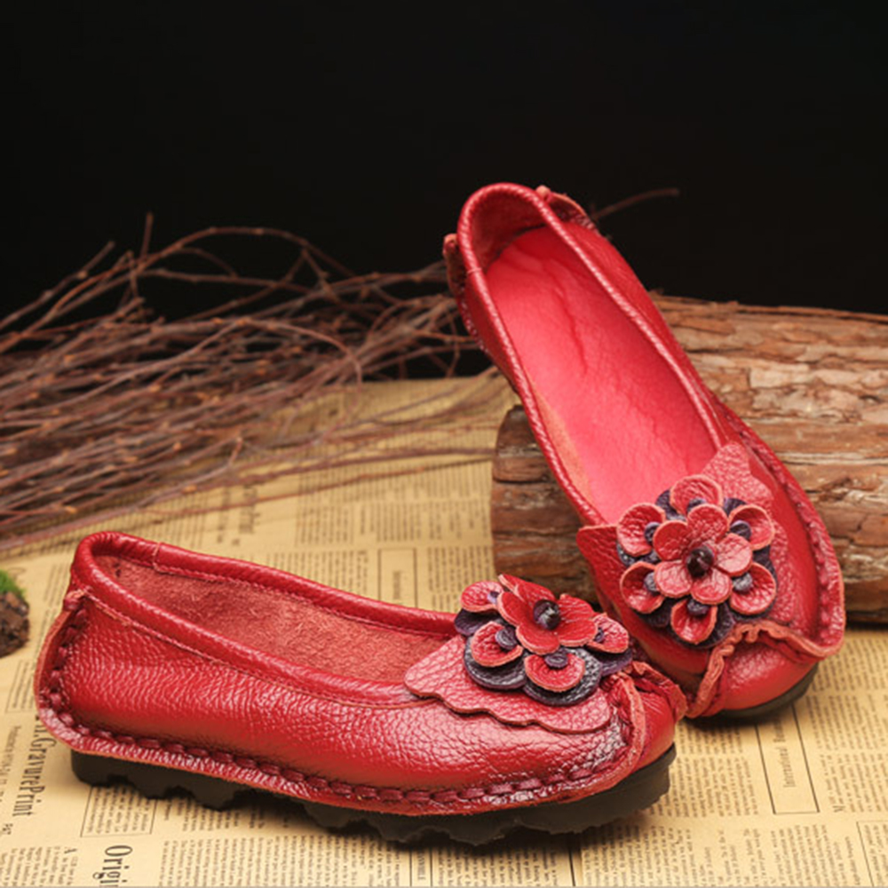Women Shoes Casual Comfortable Floral Leather Flats
