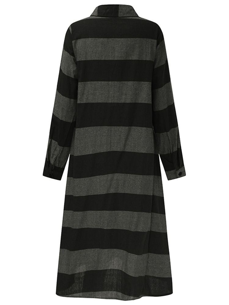 Casual-Women-Long-Sleeve-Striped-Turndown-Collar-Shirt-Dress miniatuur 14