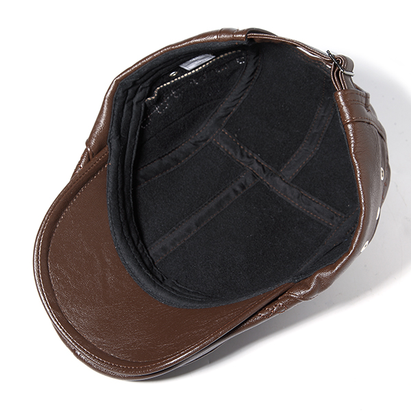 Mens Man-made Leather Solid Beret Hat