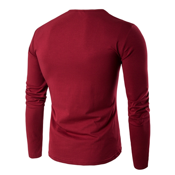 S-3XL Leisure Mens Solid Color Slim Fit T-shirt Personality Long Sleeve Tops Tees