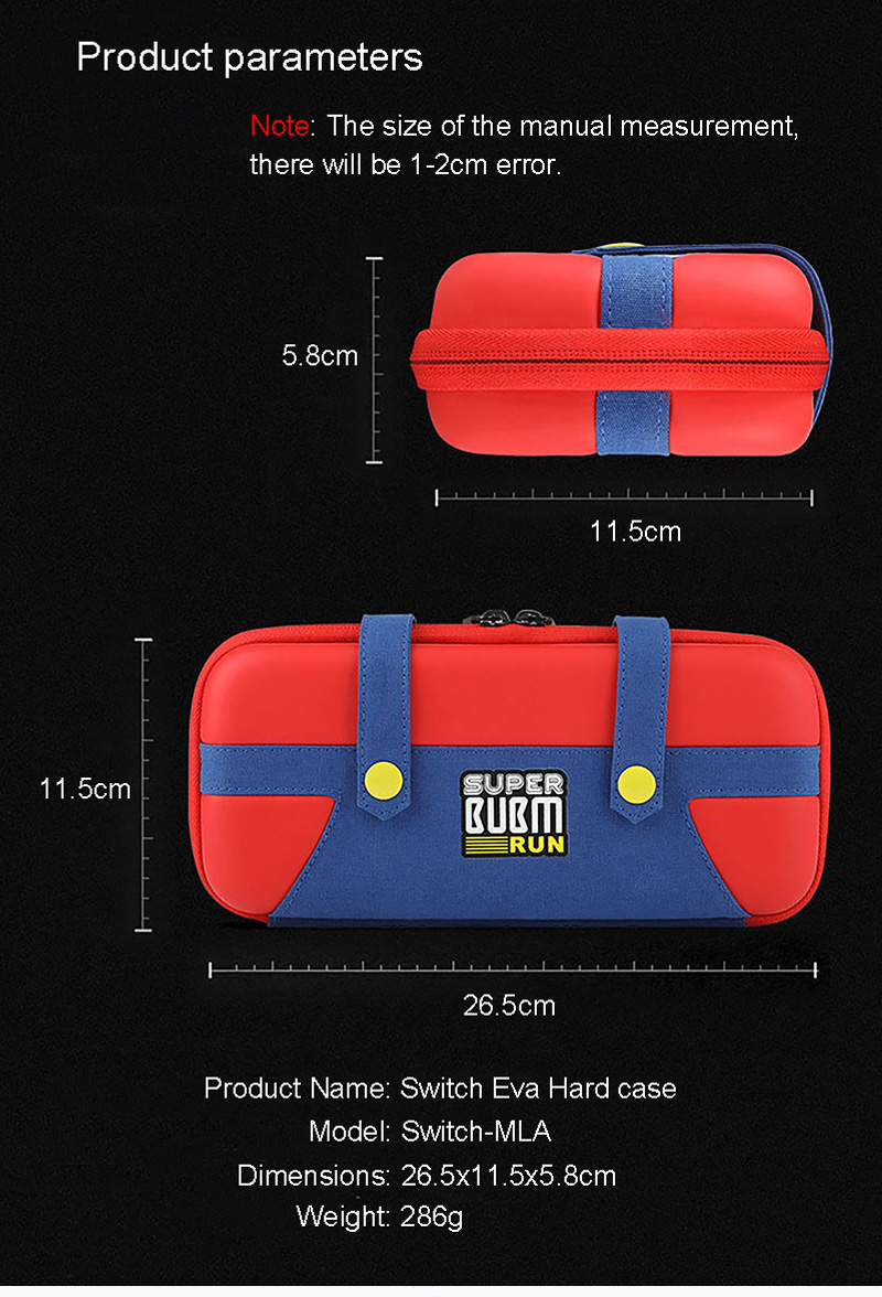 BUBM Super Run Hard Shell Protective Storage Bag 10 Game Card Holder for Nintendo Switch Console