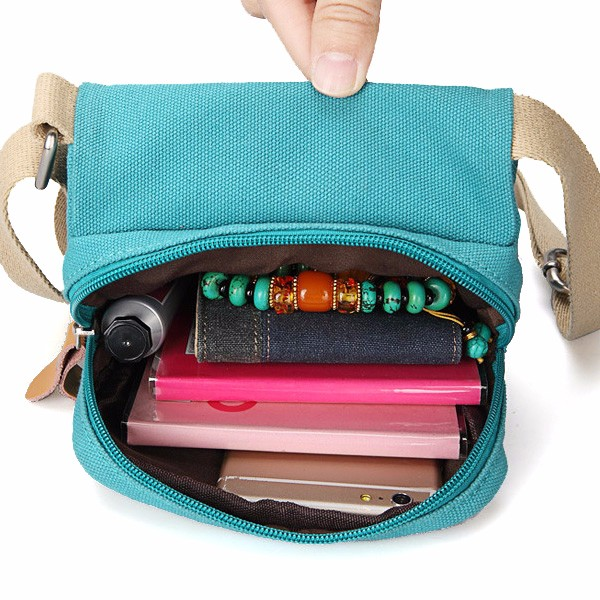 Women Canvas Shoulder Bags Front Pockets Crossbody Bags Small Flap Messenger Bags