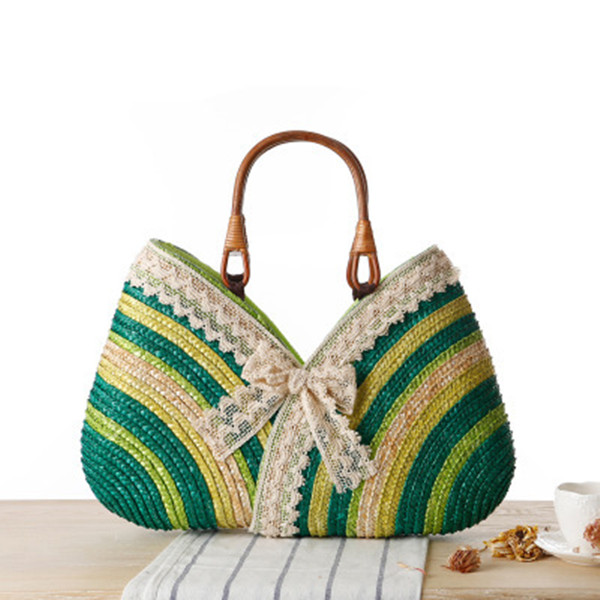 Women Lace Stylish Travel Straw Handbags Beach Bags