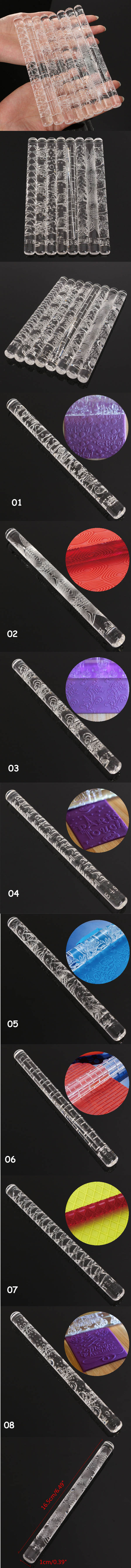 Flower Textured Embossing Acrylic Rolling Pin Fondant Cake Decorating Tool