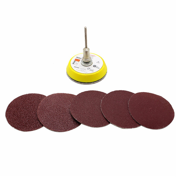 2 Inch 50mm M6 Self-adhesive Wool Polishing Disc with 50pcs 60 to 180 Grit Sand Paper
