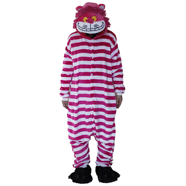 Warm Flannel Cartoon Stripe Loose Homewear Party Costume