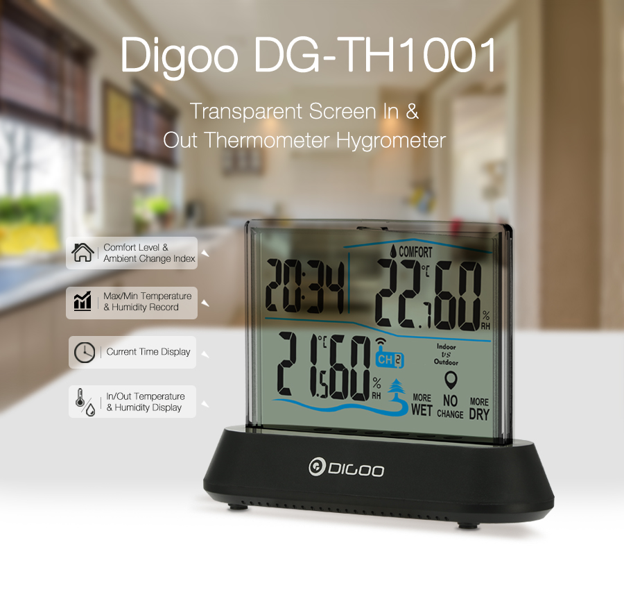 Digoo DG-TH1001 Wireless Transparent Screen Humidity Temperature digital In&Outdoor Hygrometer Thermometer Indicator Sensor Clock
