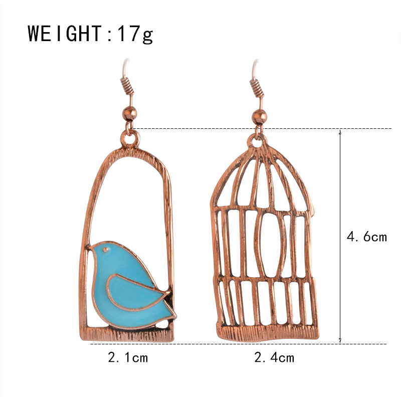 Blue Grey Bird Birdcage Fashion Asymmetric Women Earrings