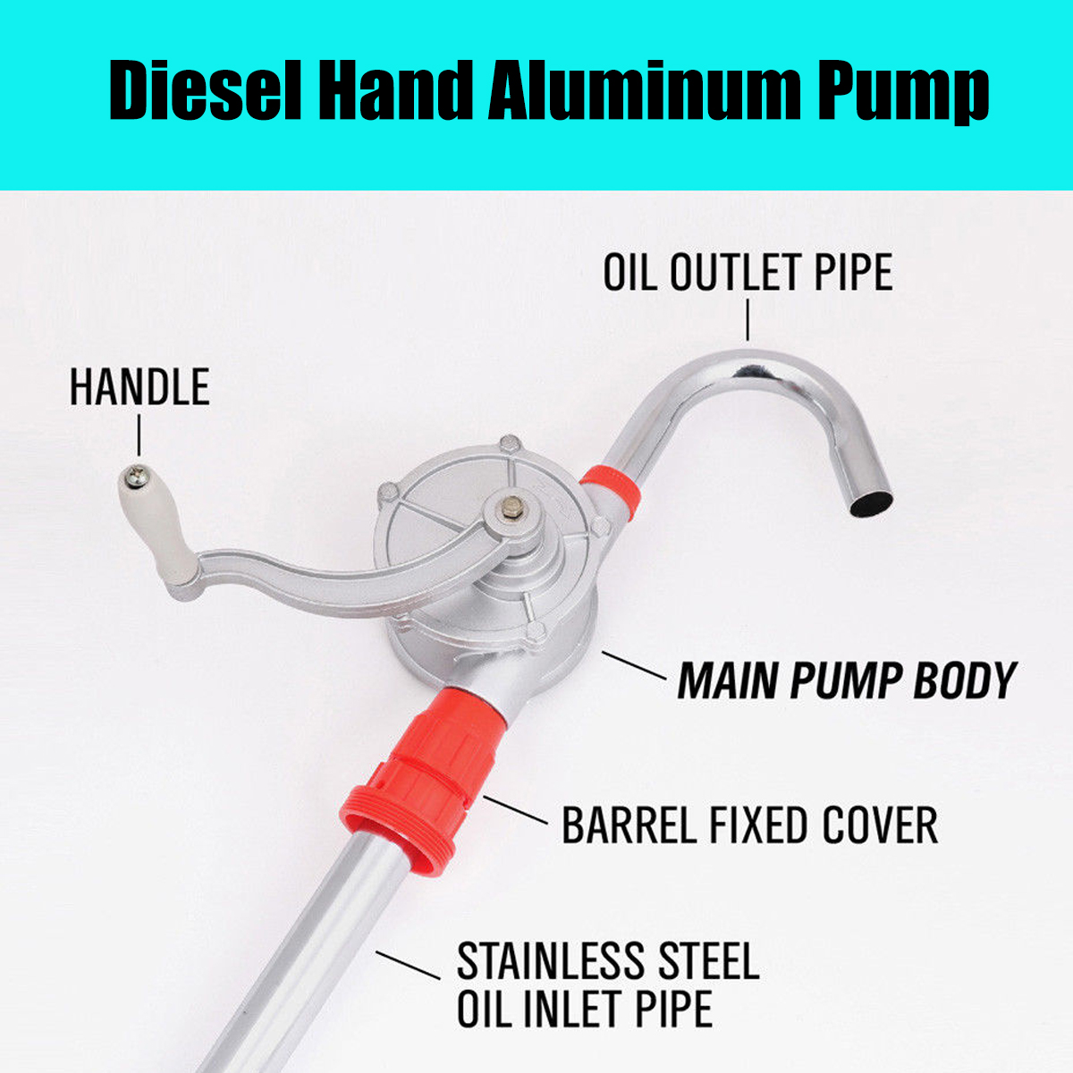 30L/m Hand Oil Pump Rotary Suction Crank Barrel Drum Pumping Petrol Diesel Fuel