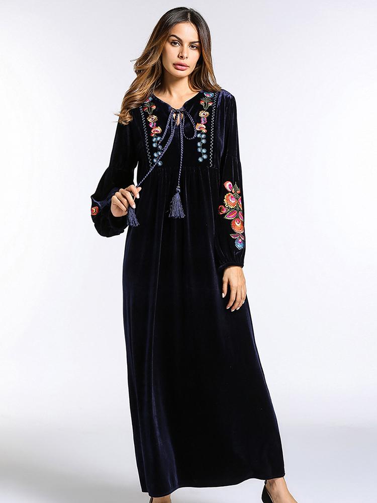 Embroidered V-Neck Velvet Maxi Dress