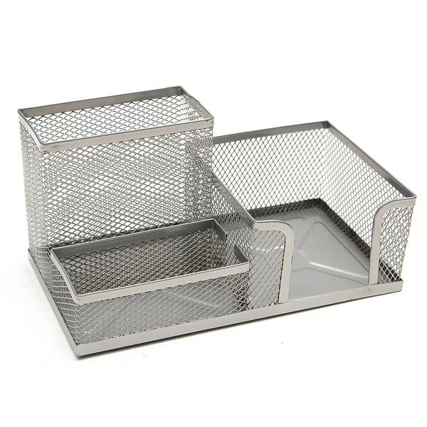 Metal Mesh Pen Holder Pencils Storage Organizer Box Desk Stationery Home Office