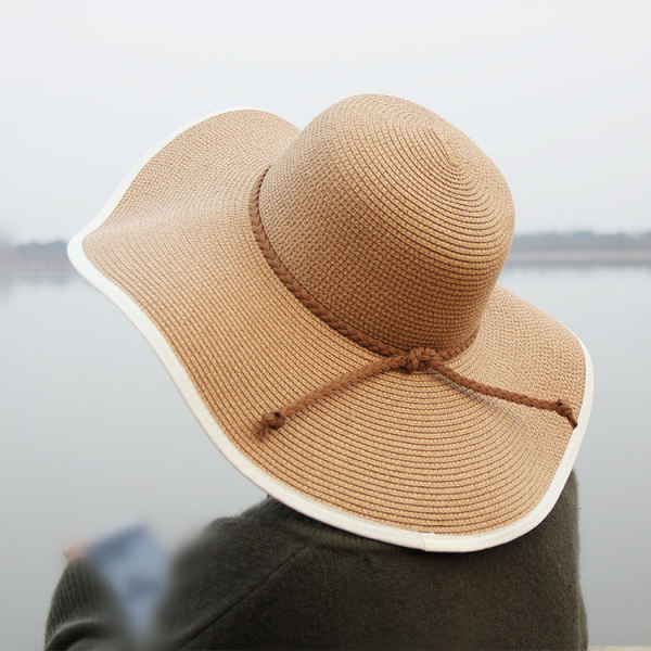 Women Summer Wide Birm Bucket Straw Hat Outdoor Hat