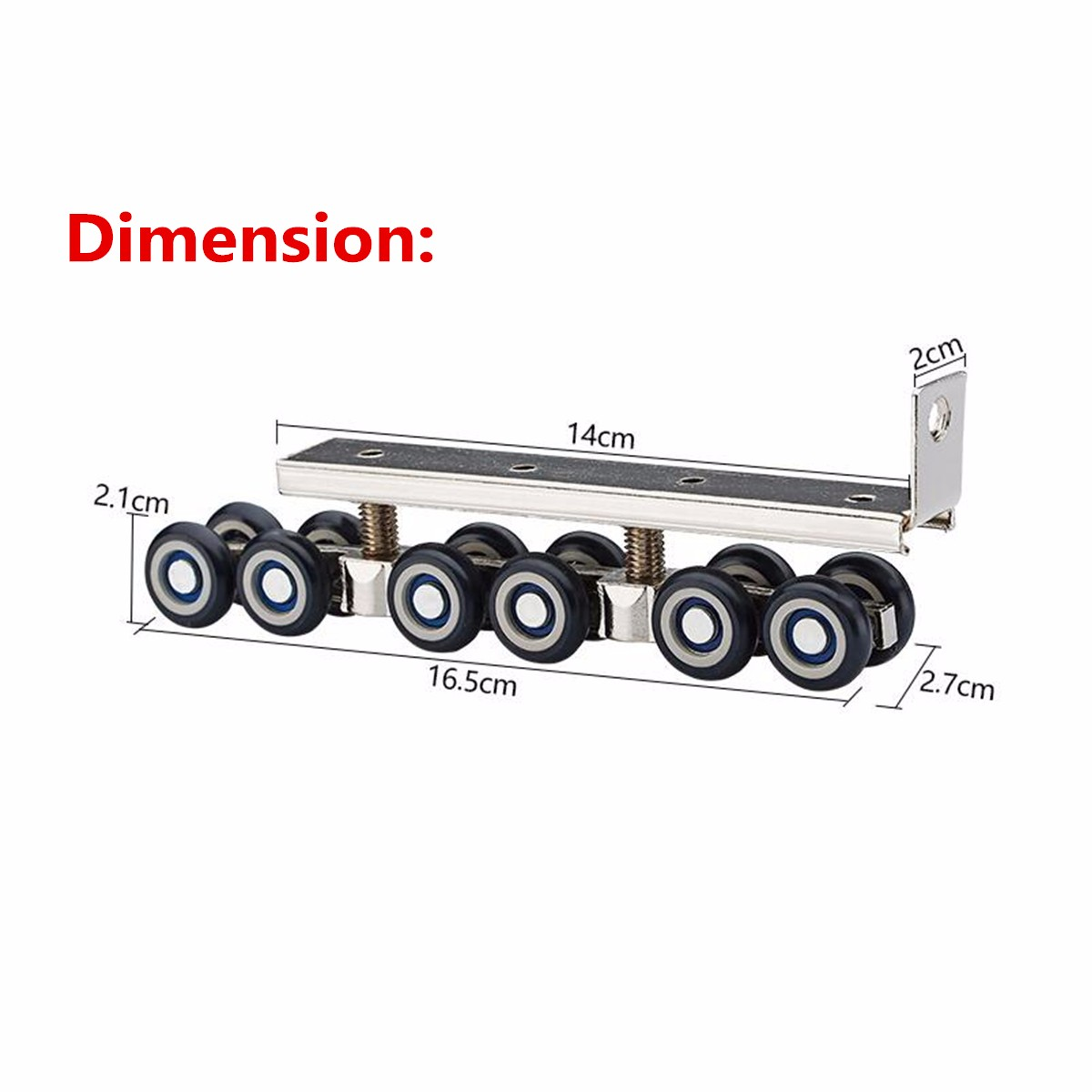 2pcs Stainless Steel Sliding Wooden Door Closet Track Pulley Hanging 12 Wheel