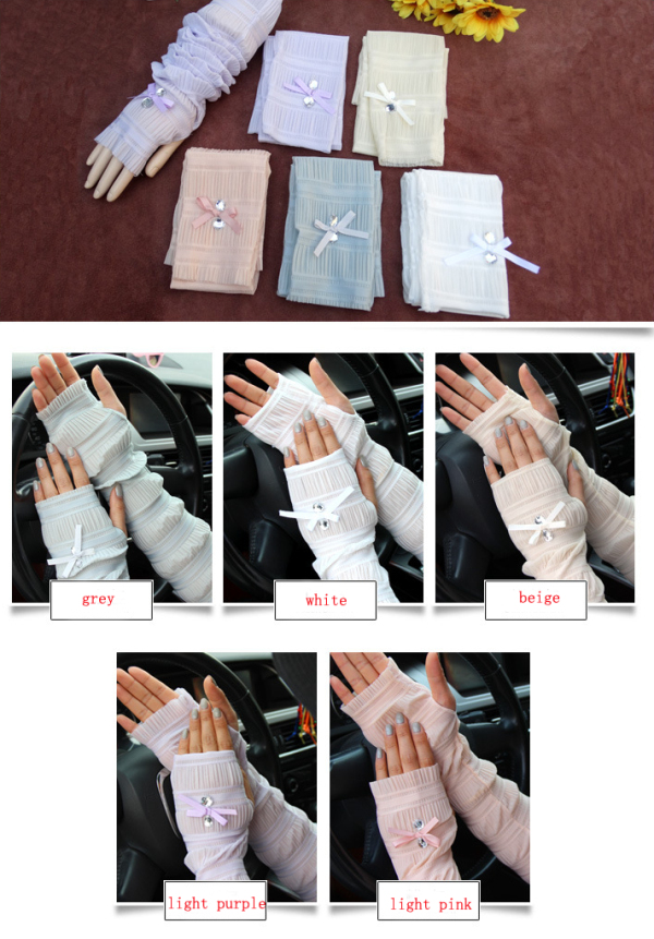 Summer Lady Lace Silk Gloves Printed Long Sleeves Anti-UV Sun Fingerless Arm Multicolor