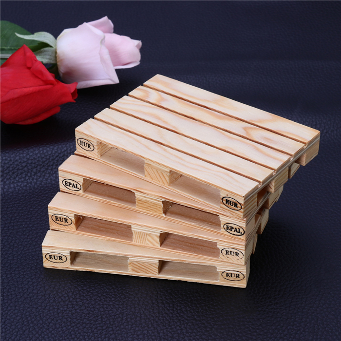 4pcs Mini Pallet Wood Beverage Drink Coasters Glasses Beer Whiskey Coffee Wine Tea Bar Coaster Cup Mug Mat for Hot Drinks