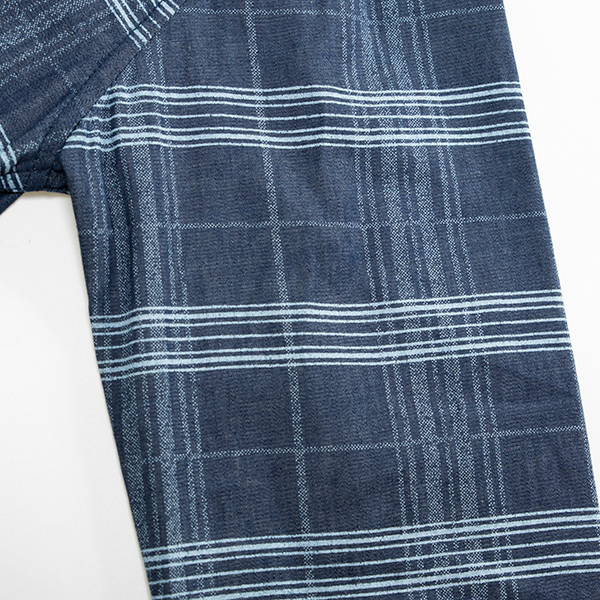 New Foreign Trade Large Size Loose and Cotton Long Sleeve Denim Men Plaid Shirt