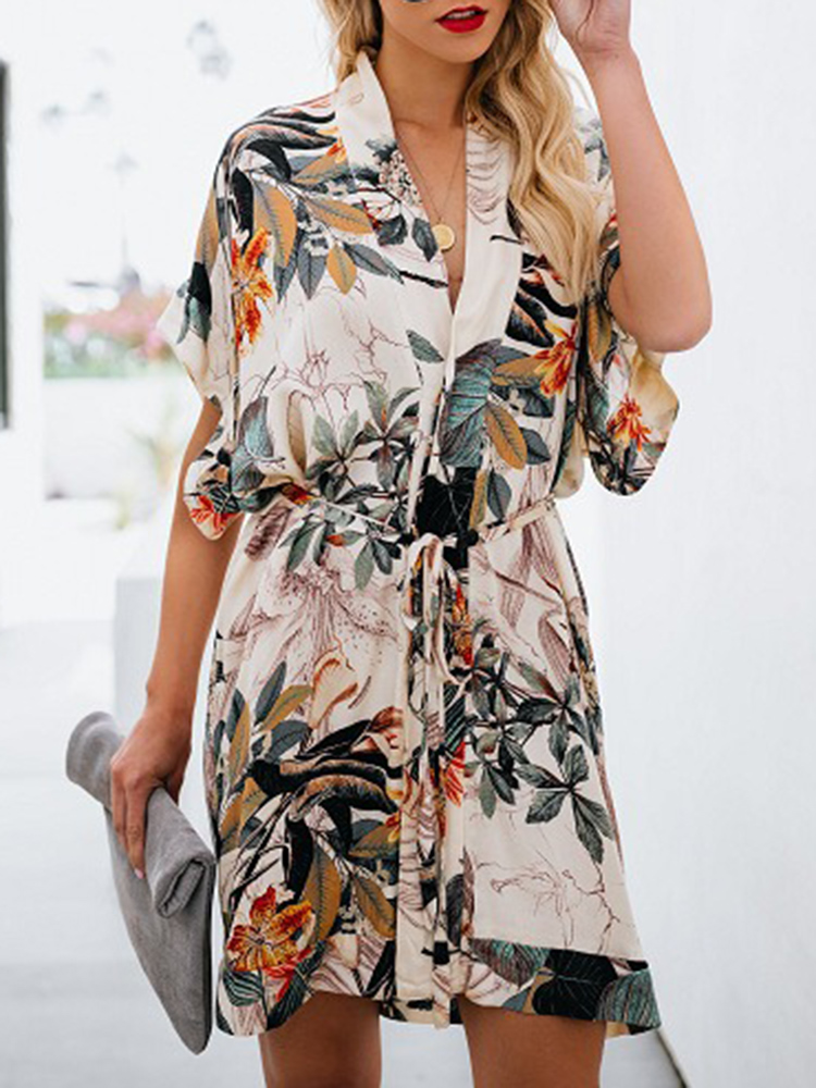 Women Casual Loose Floral Print V-Neck Dress