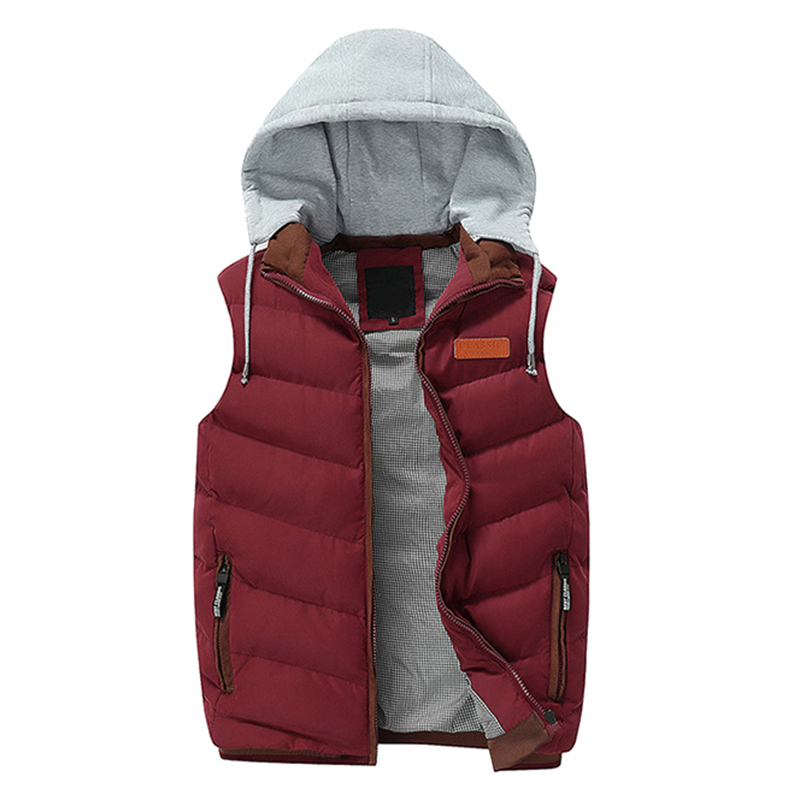 Mens Detachable Hooded Warm Solid Color Casual Padded Vest