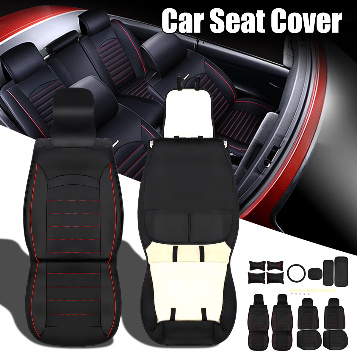 Universal 5-Seat Front and Rear Car Seat Cover with Neck Lumbar Pillow Steering Wheel Cover Full Set