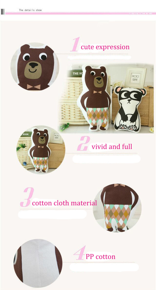 Cool Cute Robot Panda Brown Bear Throw Pillow Sofa Bed Car Office Cotton Cloth Cushion Home Decor