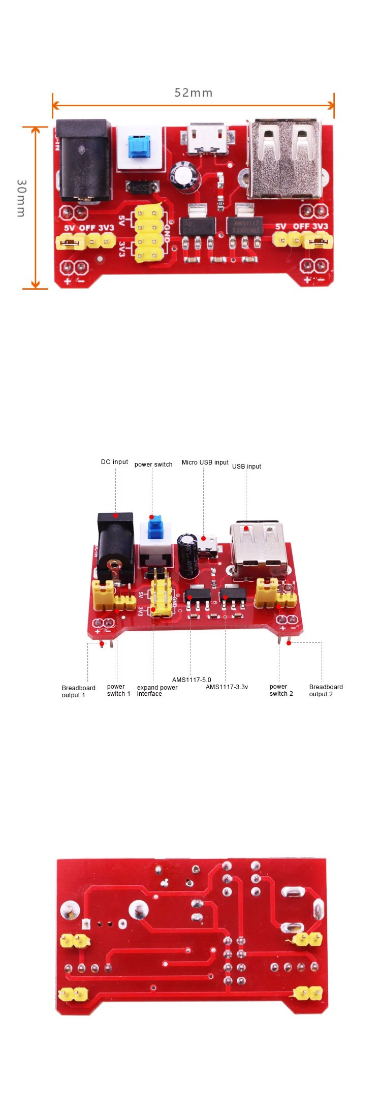 Breadboard Power Supply Board Module with MicroUSB Support 3.3V/5V Dual Voltage for Micro:bit