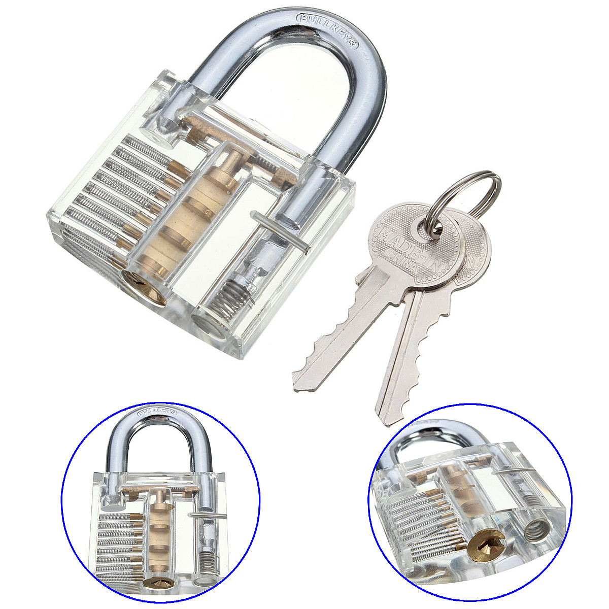 Transparent Visible Cutaway Inside View Practice Padlock Lock Training Skill For Locksmith