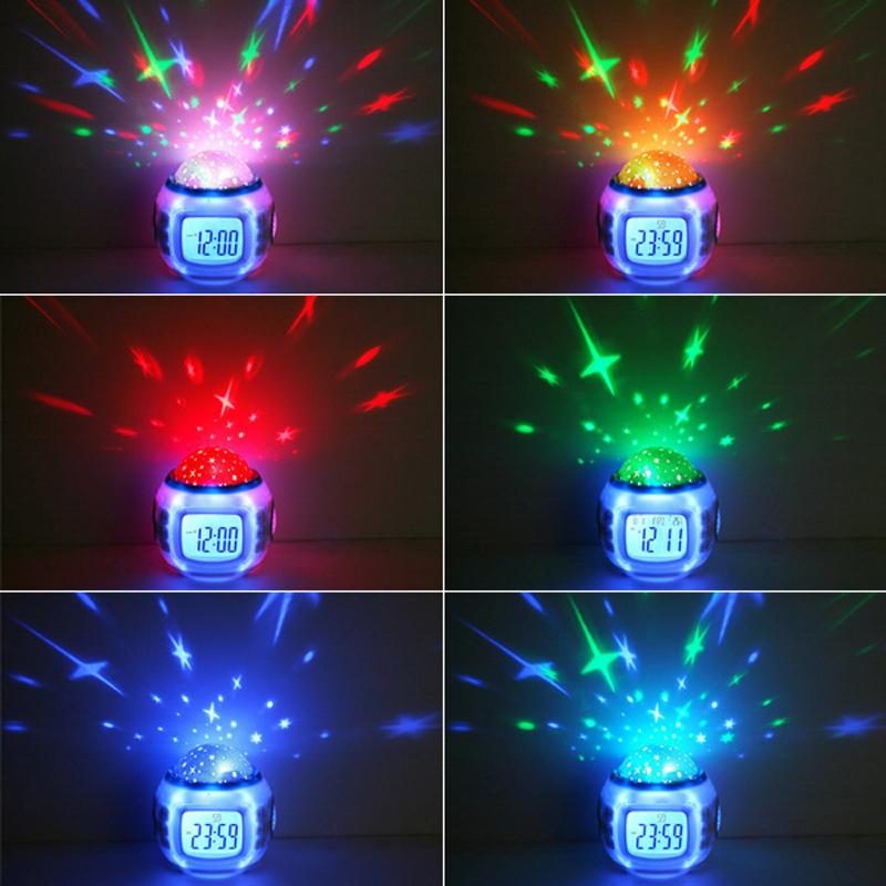Music Star Sky Digital Clock Led Projector Alarm Clock Calendar Colorful Night Light