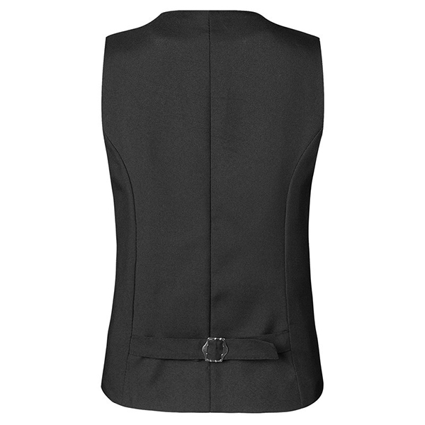 Mens Black Single-breasted V Neck Slim Fit Casual Formal Vest