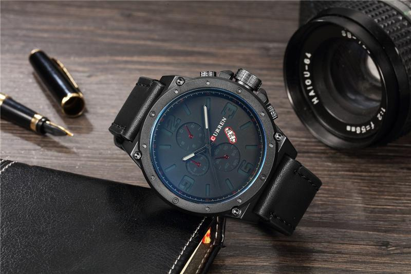 CURREN 8230 Fashion Large Number Display Men Quartz Watch Leather Strap Sport Watch