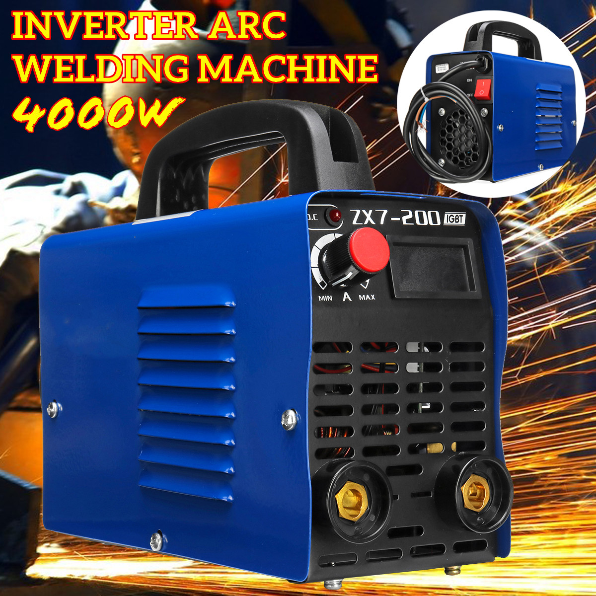 ZX7-200 220V Inverter Arc Welding Machine Fully Automatic Handheld Welding Tool LCD Display