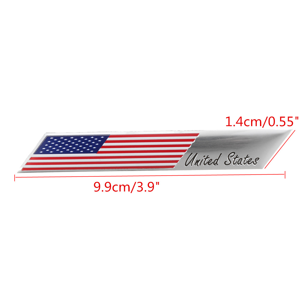 Small Trunk Emblem Badge Sticker Aluminum United States USA US Flag Fender Decals