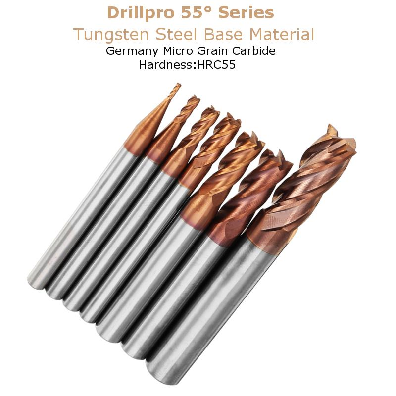 Drillpro 1-8mm 4 Flutes Tungsten Carbide End Mill Cutter HRC55 AlTiN Coating End Mill Cutter CNC Tool