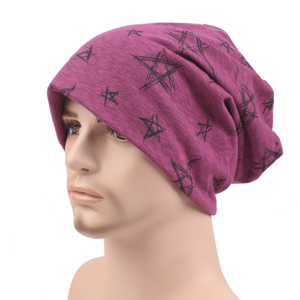 Mens Women Cotton Knitted Beanies Hat Star Printed Winter Warm Soft Caps