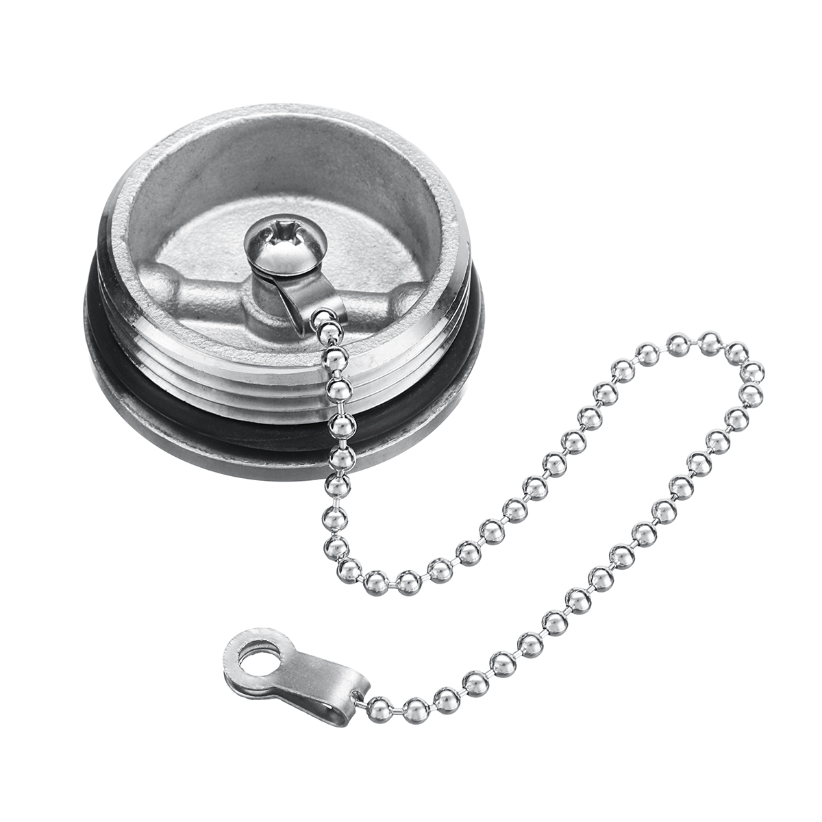Boat Deck Fill Oil Filler Replacement Cap with Chain Stainless Steel Fuel Water Gas