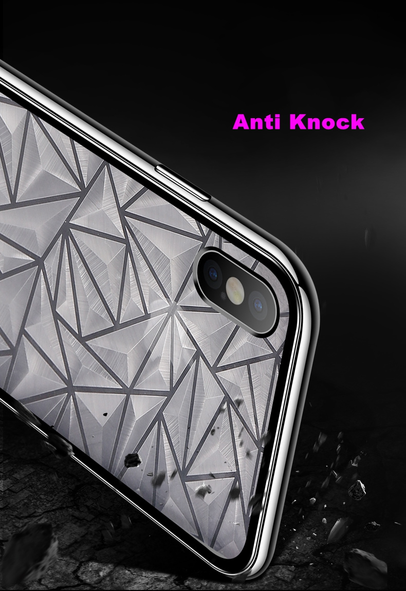 Bakeey Diamond Pattern Magnetic Adsorption Full Body Tempered Glass Back Cover+PC Frame Protective Case For iPhone X