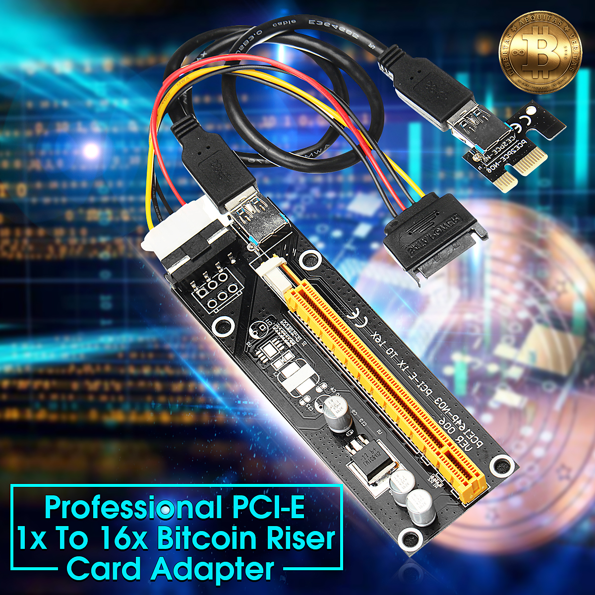 VER006 BTC ETH Pcie PCI-E 1x 16x Extender Riser Card Expansion Adapter USB 3.0 Mining Cable
