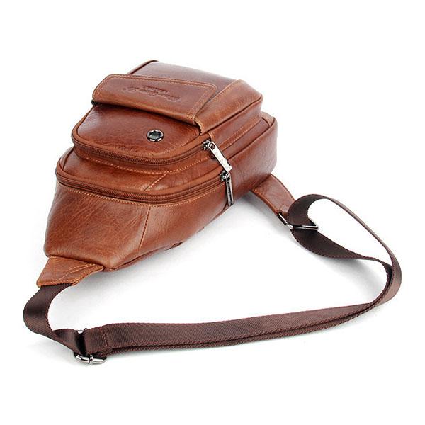 Men Genuine Leather Sling Shoulder Backpacks Vintage Chest Bag Day Bag