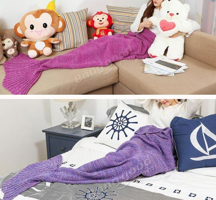 Honana WX-37 180x90cm Knitting Mermaid Tail Blanket Home Office Acrylic Fibers Warm Soft Sleep Bag