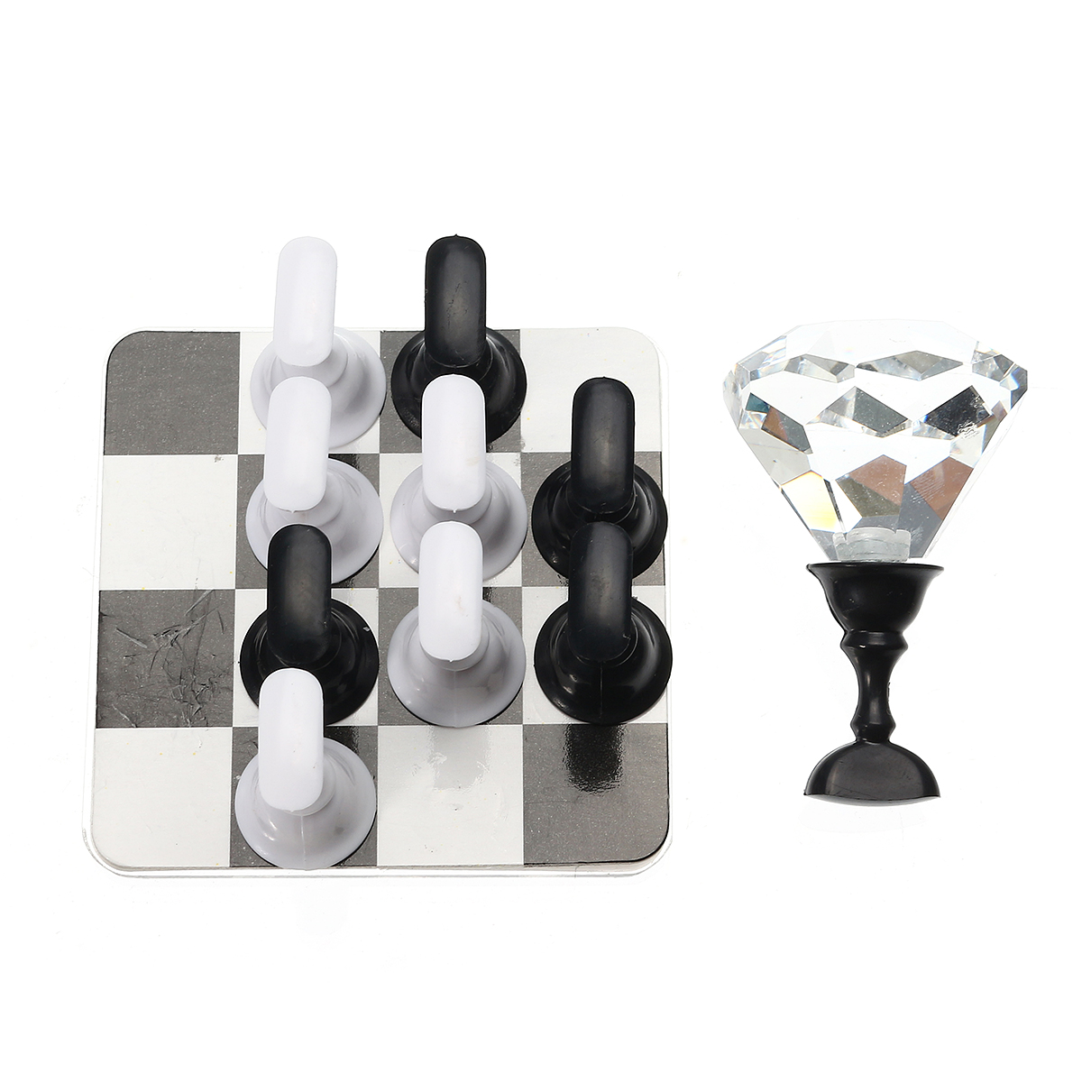 Chess Design Nail Tips Holder Display Practice Manicure Salon Tool Black White Magnetic Base